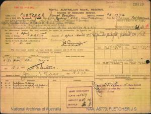FLETCHER JAMES SAMPSON : Service Number - PA1774 : Date of birth - 23 Mar 1904 : Place of birth - SYDNEY NSW : Place of enlistment - PORT ADELAIDE SA : Next of Kin - FLETCHER CYNTHIA