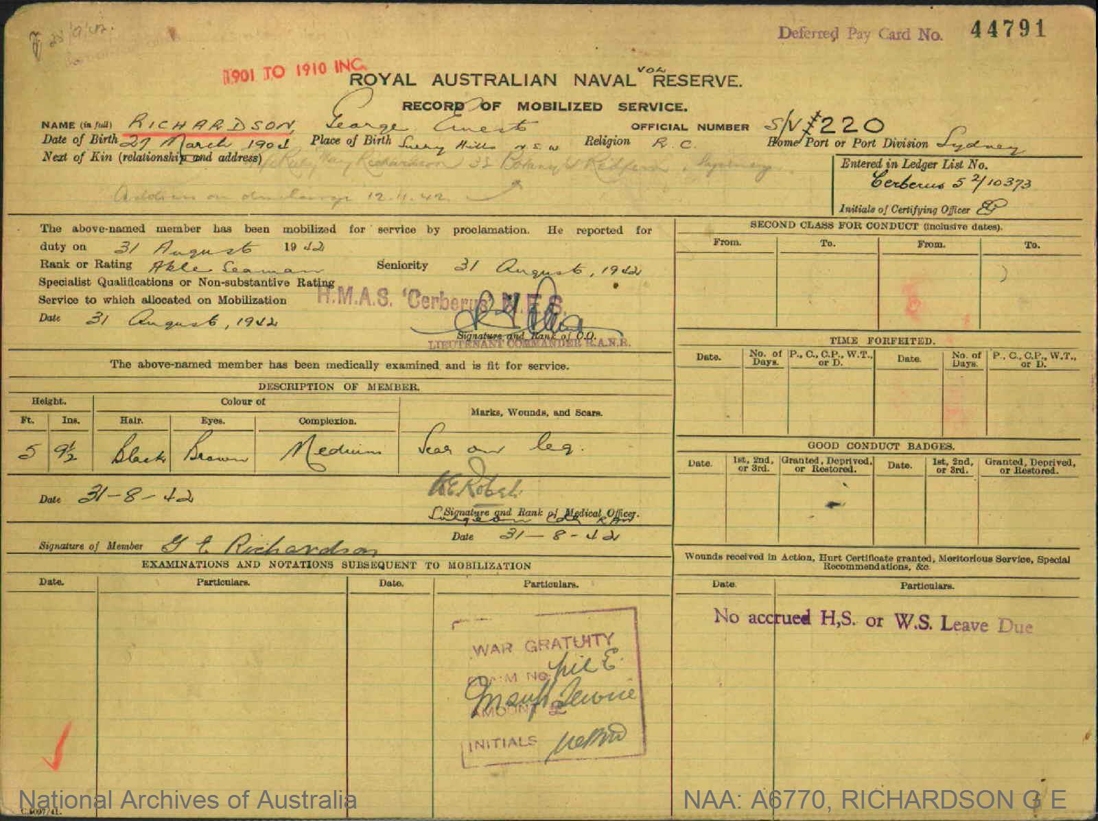RICHARDSON GEORGE ERNEST : Service Number - S/V220 : Date of birth - 27 Mar 1904 : Place of birth - SURRY HILLS NSW : Place of enlistment - SYDNEY NSW : Next of Kin - RICHARDSON RUBY