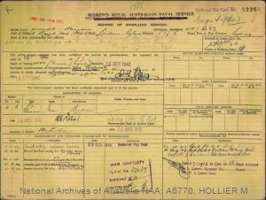 HOLLIER MARJORIE : Service Number - WR/433 : Date of birth - 15 Mar 1904 : Place of birth - LONDON ENGLAND : Place of enlistment - SYDNEY : Next of Kin - HOLLIER OSCAR