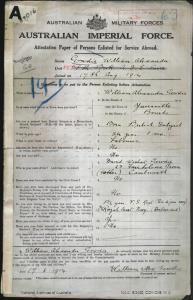Gowdie William Alexander : SERN 63 : POB Bourke NSW : POE Melbourne VIC : NOK F Gowdie David Wishard