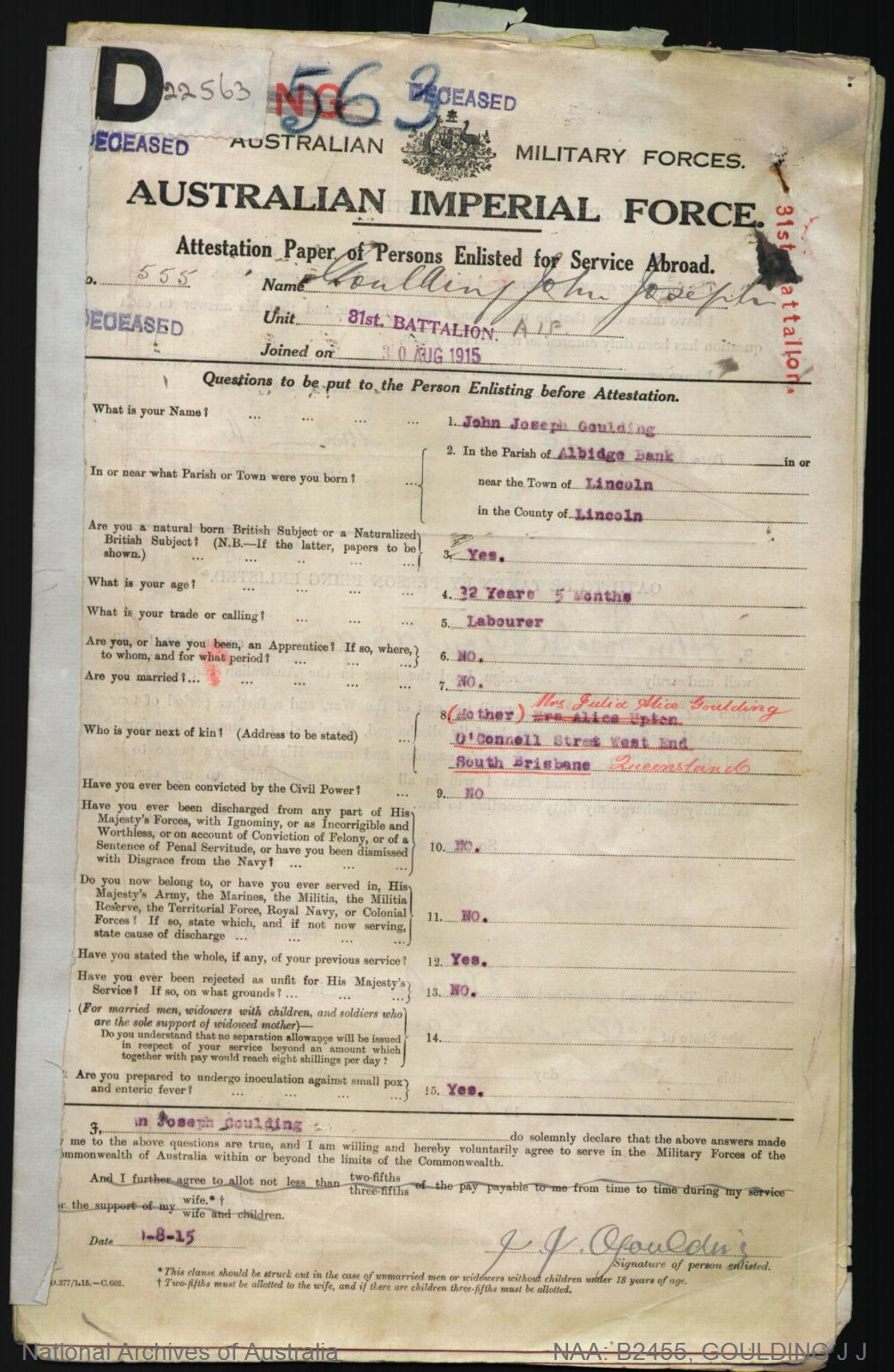 Goulding John Joseph : SERN 555 : POB Albidge Bank England : POE Brisbane QLD : NOK M Goulding Julia Alice