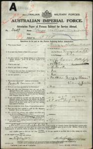 GRIGG William Archibald : Service Number - 3647 : Place of Birth - Drysdale VIC : Place of Enlistment - Melbourne VIC : Next of Kin - (Father) GRIGG Thomas T