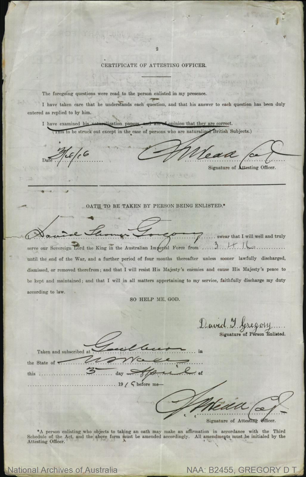 GREGORY David Thomas : Service Number - 2515 : Place of Birth - Queanbeyan NSW : Place of Enlistment - Goulburn NSW : Next of Kin - (Father) GREGORY Thomas
