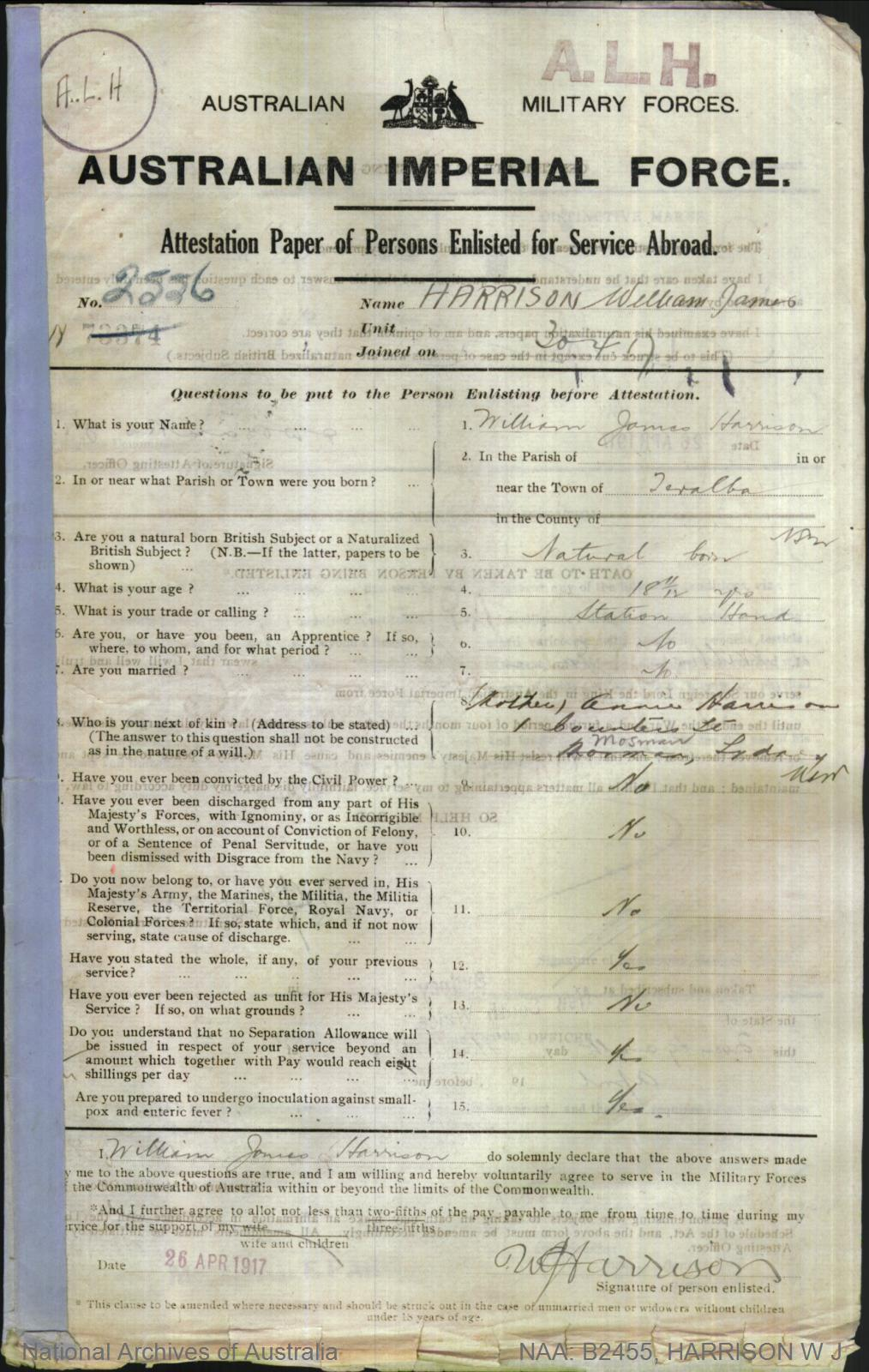 HARRISON William James : Service Number - 2556 : Place of Birth - Teralba NSW : Place of Enlistment - Sydney NSW : Next of Kin - (Mother) HARRISON Annie