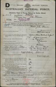 HART John Thomas : Service Number - 6812A : Place of Birth - Allansford VIC : Place of Enlistment - Melbourne VIC : Next of Kin - HART John Thomas