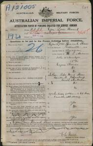 HASS Egon Louis Henrich : Service Number - 1930 : Place of Birth - Greenville USA : Place of Enlistment - Adelaide SA : Next of Kin - (Father) HASS Peter Henry