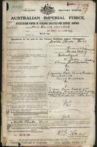 HASS Walter Theodore : Service Number - 2517 : Place of Birth - Greenville USA : Place of Enlistment - Adelaide SA : Next of Kin - (Father) HASS Peter Heinrich