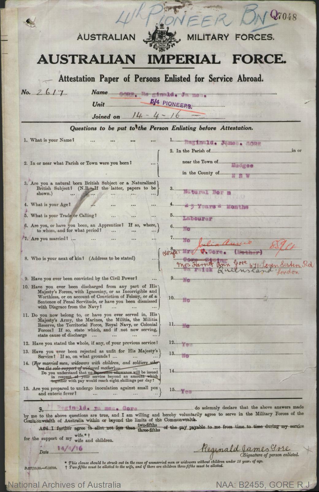 Gore Reginald James : SERN 2617 : POB Mudgee NSW : POE Toowoomba QLD : NOK W Gore Harriet Ann