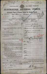 THORPE Harry : Service Number - 5459 : Place of Birth - Orbost VIC : Place of Enlistment - Sale VIC : Next of Kin - (Wife) THORPE Julia