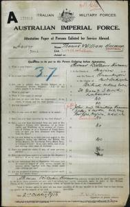 HARMAN Thomas William : Service Number - 7002 : Place of Birth - Queanbeyan NSW : Place of Enlistment - Goulburn NSW : Next of Kin - (Father) HARMAN John