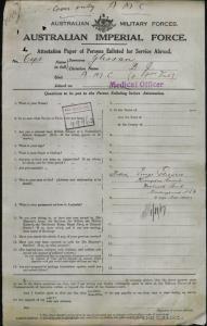 Glissan Denis Joseph : SERN Major : POB N/A : POE Sydney NSW : NOK F Glissan George
