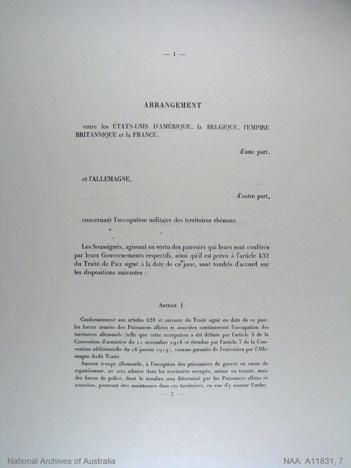 Agreement [Between the United States of America, Belgium, the British Empire, and France, of the one part, and Germany, of the other part, with regard to the military occupation of the territories of the Rhine.]