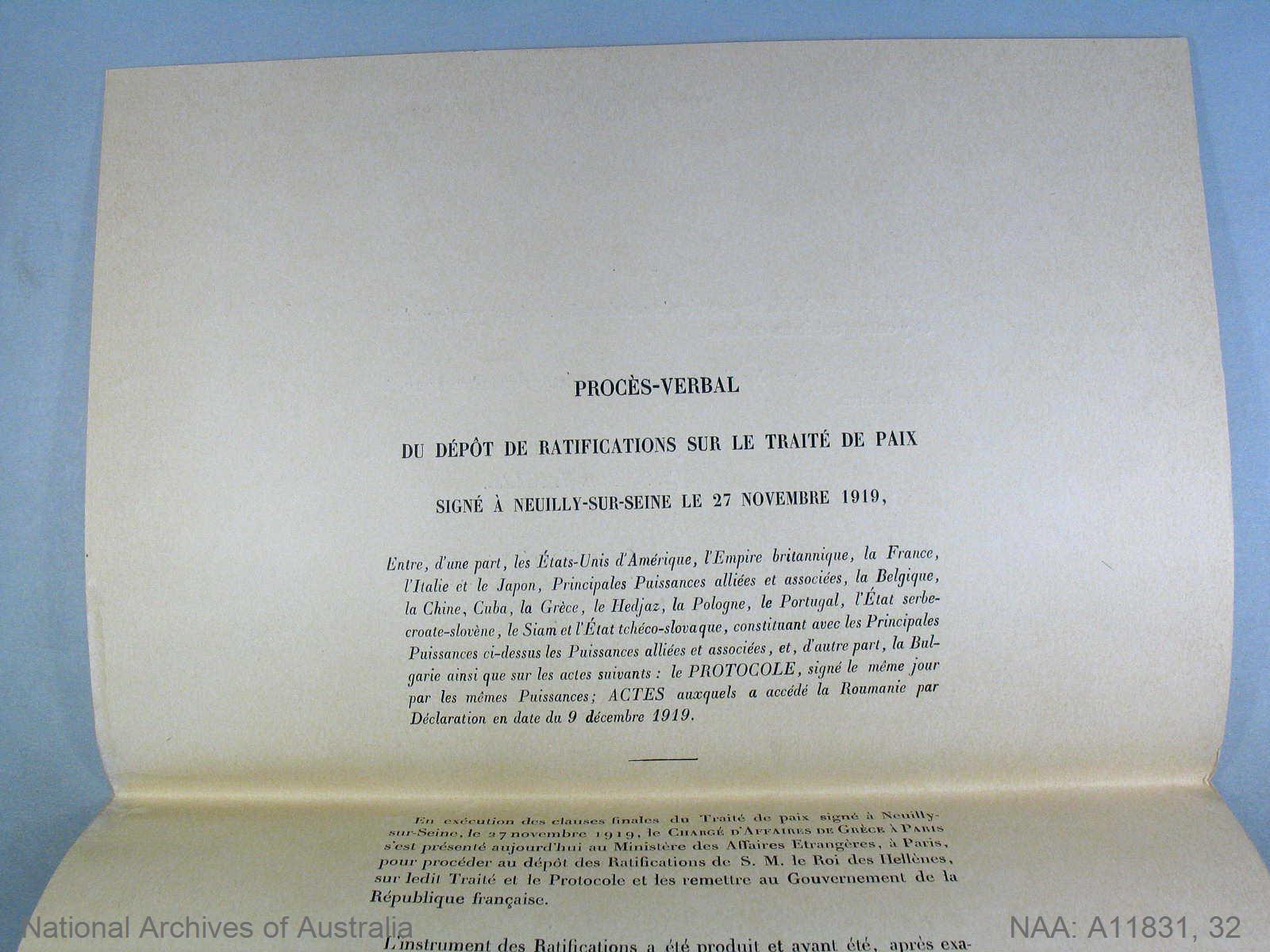 Proces-Verbal du depot de ratifications sur le traite de Paix signe a Neuilly-sur-Seine le 27 Novembre 1919 [Proces-Verbal recording the deposit of the Ratification of the Treaty of Peace with Bulgaria by Greece]