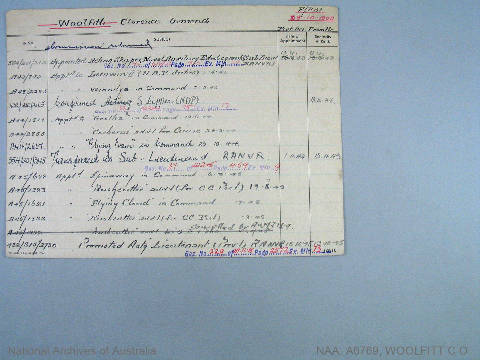 WOOLFITT CLARENCE ORMOND : Date of birth - 29 Oct 1900 : Place of birth - MOUNT MARGARET : Place of enlistment - FREMANTLE : Next of Kin - STELLA