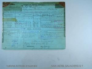 SAUNDERS GEORGE THOMAS : Date of birth - 18 Nov 1889 : Place of birth - MELBOURNE VIC : Place of enlistment - MELBOURNE : Next of Kin - SAUNDERS ELSIE
