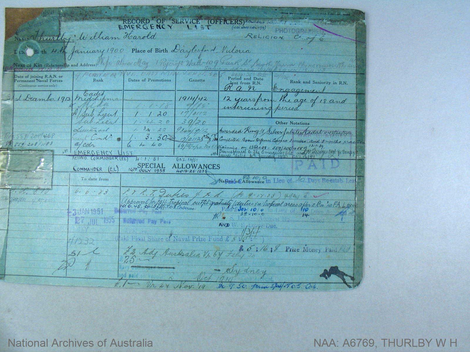 THURLBY WILLIAM HAROLD : Date of birth - 04 Jan 1900 : Place of birth - DAYLESFORD VIC : Place of enlistment - SYDNEY : Next of Kin - ALMA