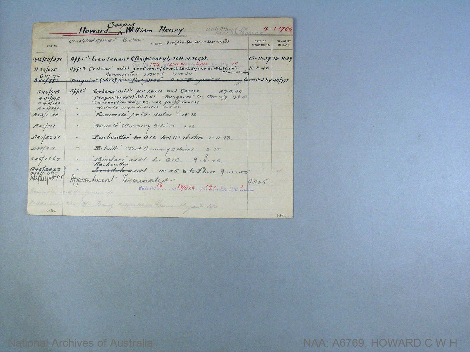 HOWARD CRAWFORD WILLIAM HENRY : Date of birth - 04 Jan 1900 : Place of birth - BANGOR IRELAND : Place of enlistment - Unknown : Next of Kin - MARION