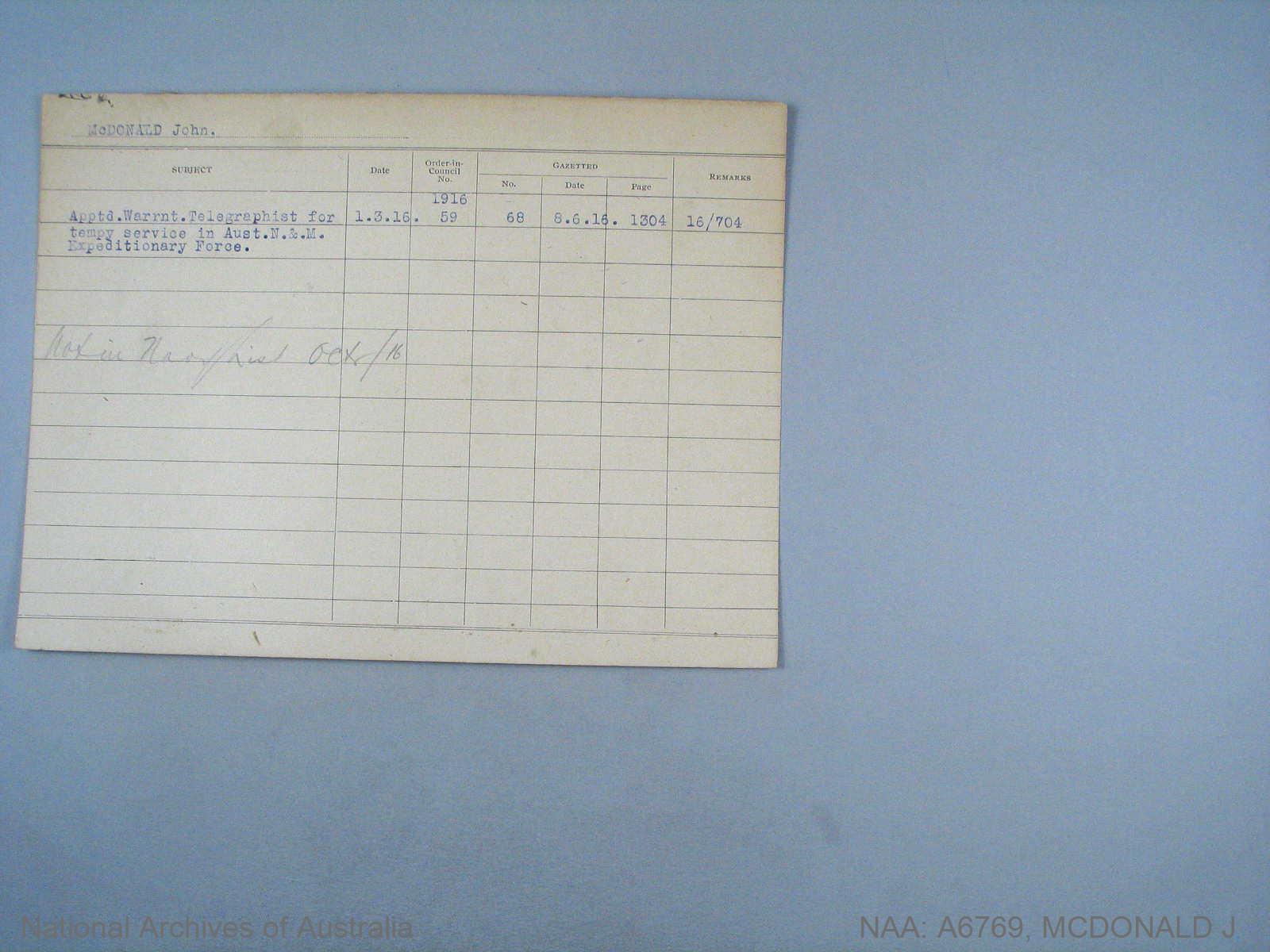 MCDONALD JOHN : Date of birth - 19 Nov 1900 : Place of birth - MANCHESTER ENGLAND : Place of enlistment - SYDNEY : Next of Kin - ELLALINE