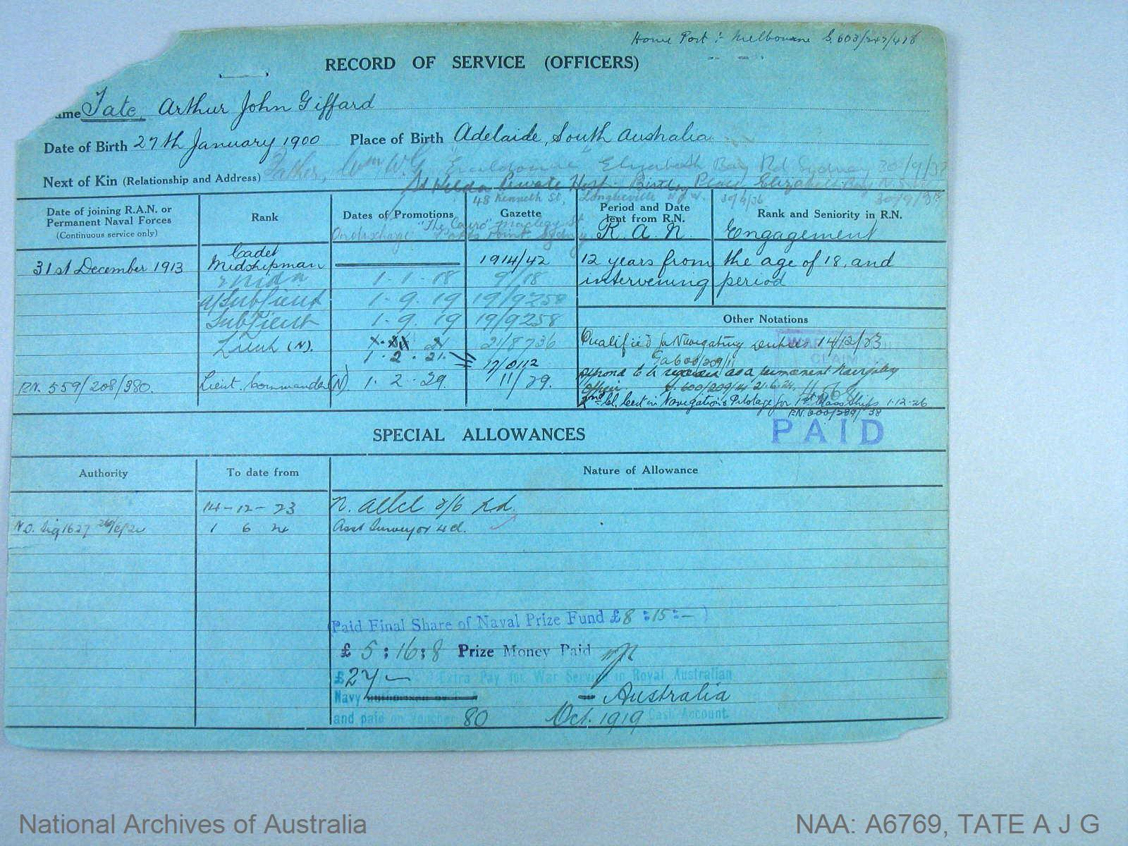 TATE ARTHUR JOHN GIFFARD : Date of birth - 27 Jan 1900 : Place of birth - ADELAIDE SA : Place of enlistment - MELBOURNE : Next of Kin - TATE WILLIAM
