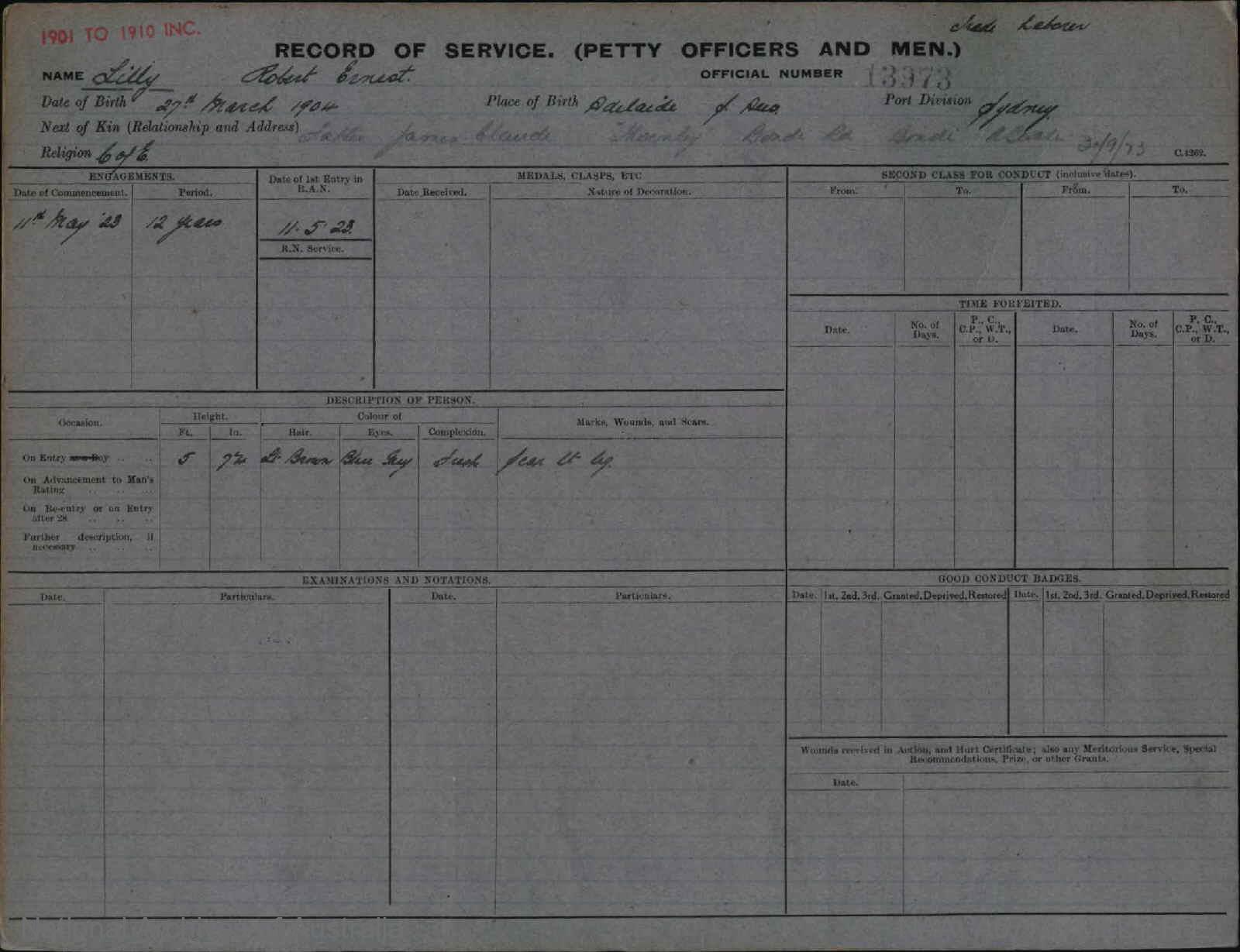 LILLY ROBERT ERNEST : Service Number - 13973 : Date of birth - 27 Mar 1904 : Place of birth - ADELAIDE SA : Place of enlistment - SYDNEY : Next of Kin - JAMES