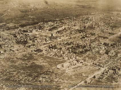 Aerial photograph of Ypres [?] after bombardment June 1917 [?] R V MORSE.