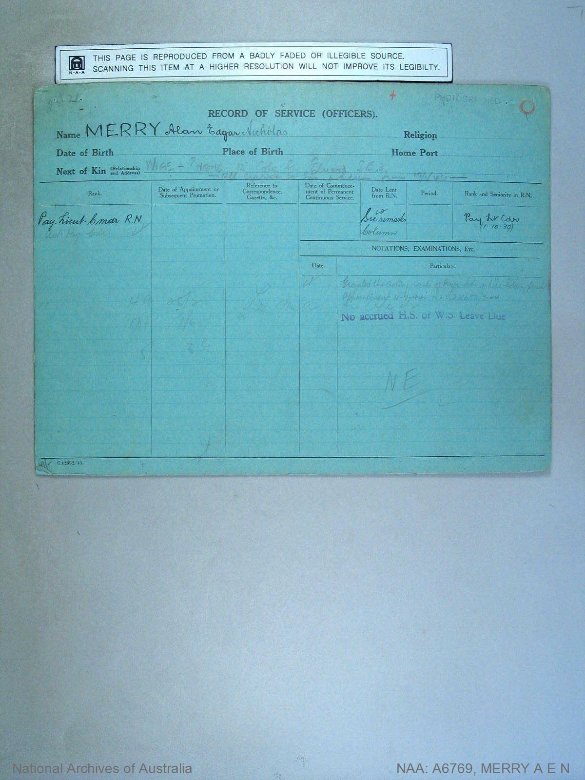 MERRY ALAN EDGAR NICHOLAS : Date of birth - Unknown : Place of birth - Unknown : Place of enlistment - Unknown : Next of Kin - Unknown