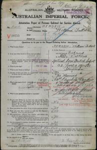 HENDRIE William Tullock : Service Number - 2411 : Place of Birth - Melbourne Vic : Place of Enlistment - Melbourne Vic : Next of Kin - (Wife) HENDRIE Elizabeth