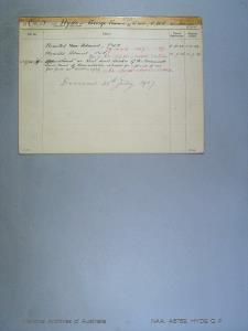 HYDE GEORGE FRANCIS : Date of birth - 19 Jul 1877 : Place of birth - PORTSMOUTH ENGLAND : Place of enlistment - MELBOURNE : Next of Kin - ISLA