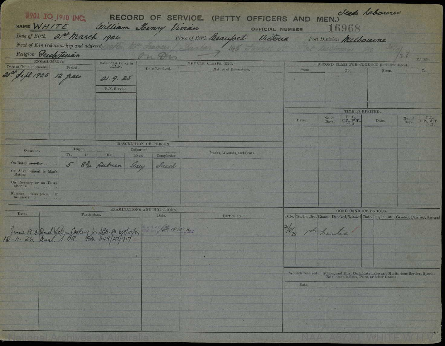 WHITE WILLIAM HENRY VIVIAN : Service Number - 16968 : Date of birth - 21 Mar 1904 : Place of birth - BEAUFORT VIC : Place of enlistment - MELBOURNE : Next of Kin - DANBAR FRANCES