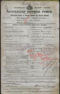 HEYWOOD Albert Paul : Service Number - Depot/1769 : Place of Birth - Bendigo Vic : Place of Enlistment - Melbourne Vic : Next of Kin - ROSEWARNE Vera Edwina