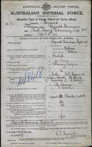 HEYWOOD Reginald Harriman : Service Number - Captain : Place of Birth - Malvern Vic : Place of Enlistment - N/A : Next of Kin - (Father) HEYWOOD William Reginald