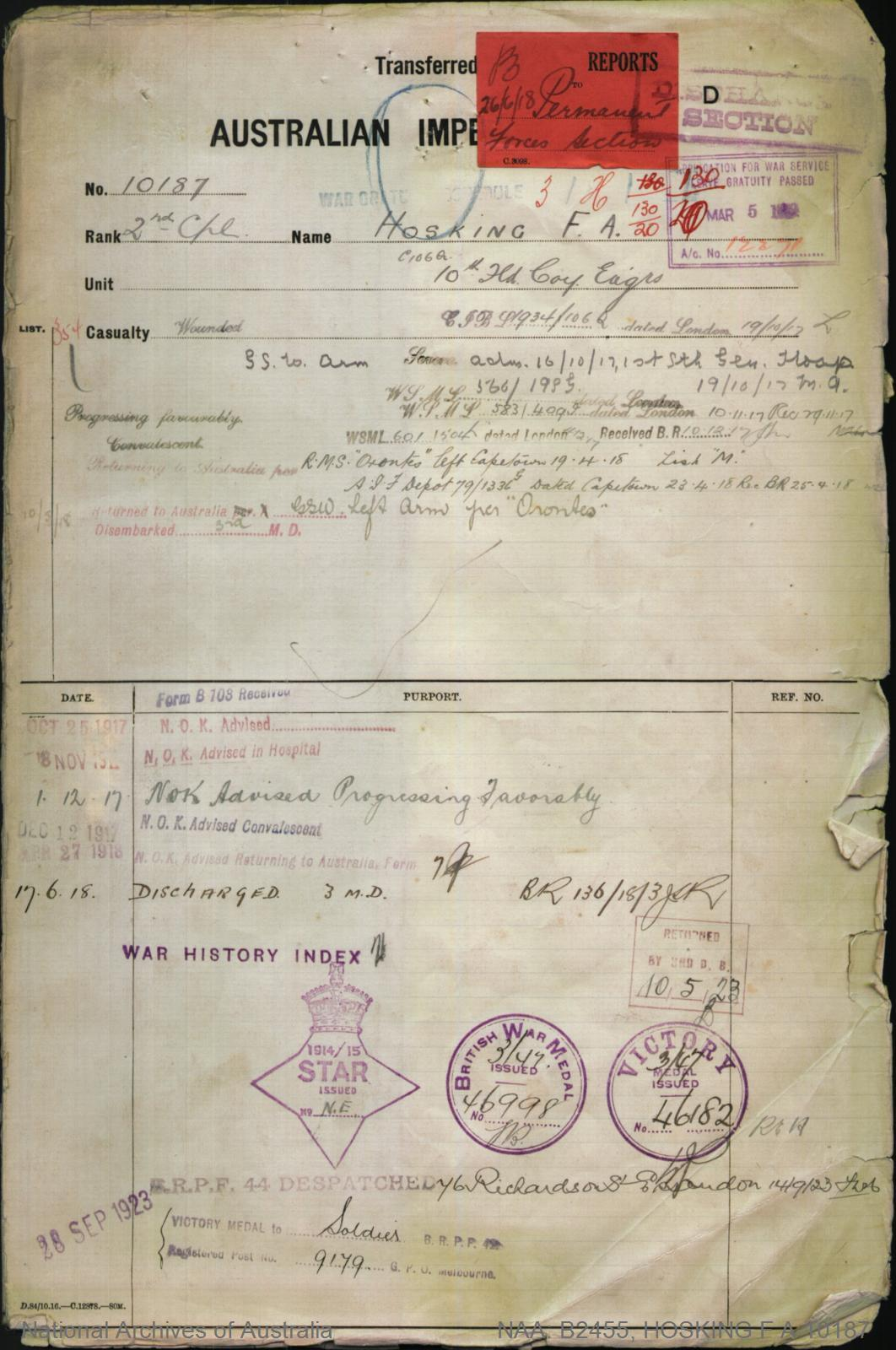HOSKING Frederick Alexander : Service Number - 10187 : Place of Birth - Melbourne Vic : Place of Enlistment - Melbourne Vic : Next of Kin - (Wife) HOSKING Francis A