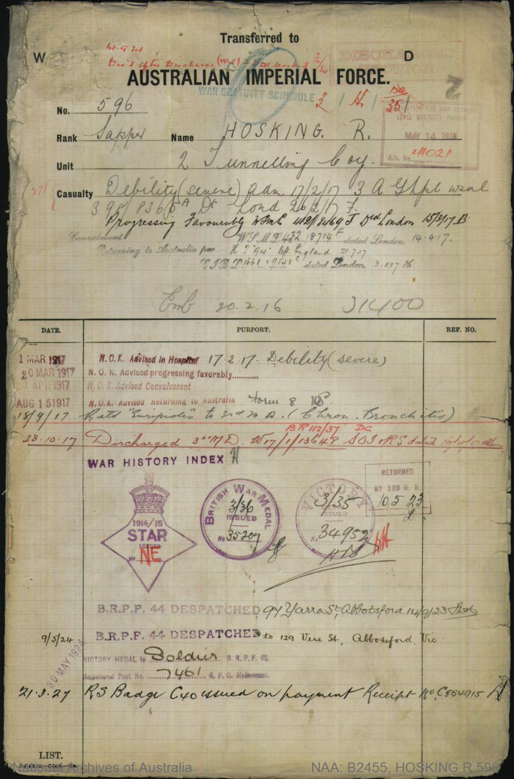 HOSKING Richard : Service Number - 596 : Place of Birth - Ballarat Vic : Place of Enlistment - Melbourne Vic : Next of Kin - (Mother) HOSKING Rosi