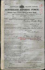HOSKING Thornton Philip : Service Number - 4137 : Place of Birth - Melbourne Vic : Place of Enlistment - Melbourne Vic : Next of Kin - (Wife) HOSKING Ettie R