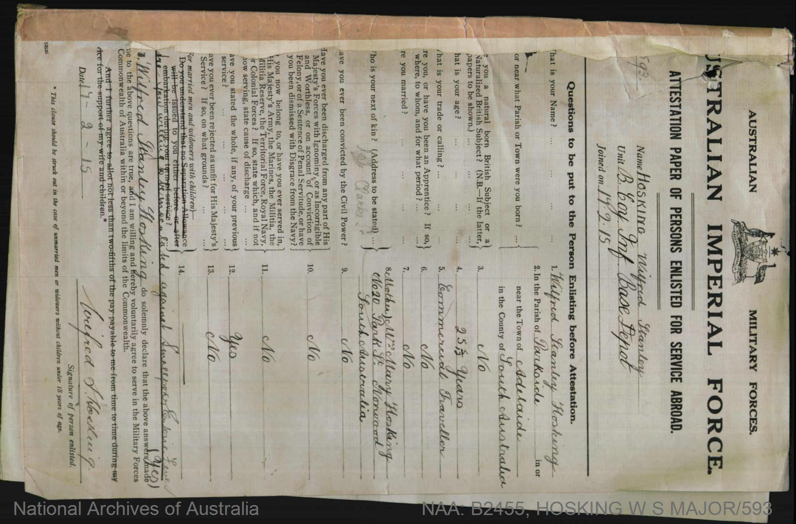 HOSKING Wilfred Stanley : Service Number - Major/593 : Place of Birth - Adelaide SA : Place of Enlistment - Keswick SA : Next of Kin - (Mother) HOSKING Mary