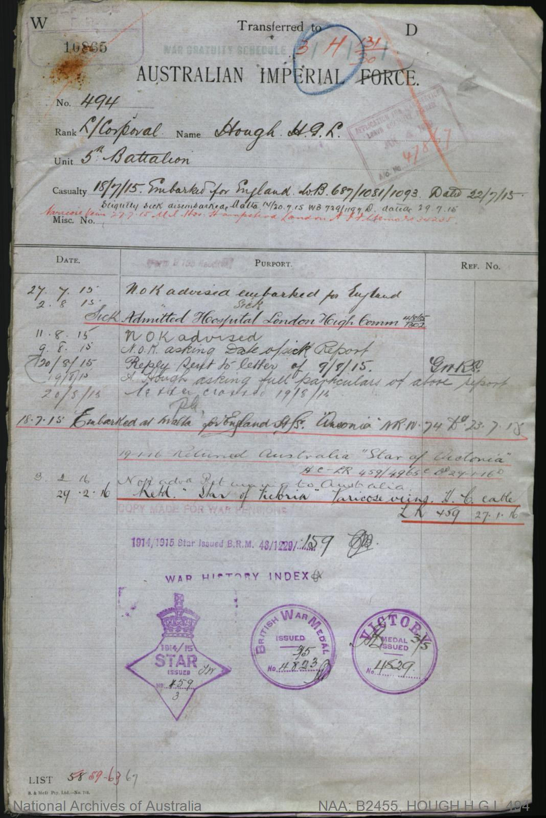 HOUGH Harold George Lawther : Service Number - 494 : Place of Birth - Melbourne Vic : Place of Enlistment - Albert Park Vic : Next of Kin - (Mother) HOUGH Letitia