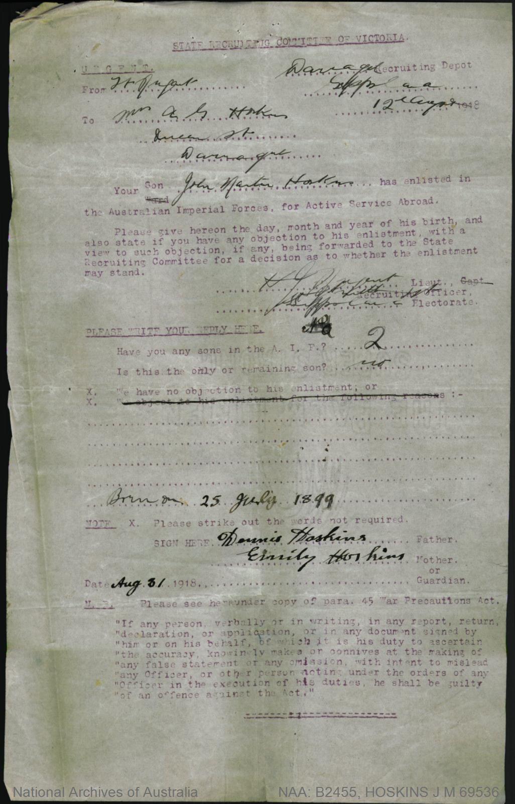 HOSKINS John Martin : Service Number - 69536 : Place of Birth - Buln Buln Vic : Place of Enlistment - Melbourne Vic : Next of Kin - (Father) HOSKINS Dennis