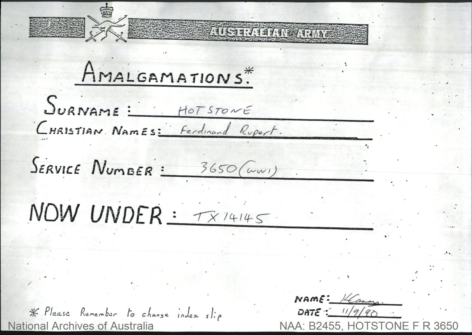 HOTSTONE Ferdinand Rupert : Service Number - 3650 : Note This record consists of an empty envelope only.  The contents have been amalgamated with this person's World War II service documents.  The World War II service number is TX14145.  Contact Archives Staff for assistance in requesting the amalgamated record.