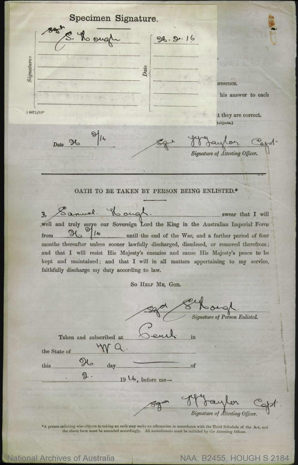 HOUGH Samuel : Service Number - 2184 : Place of Birth - Melbourne Vic : Place of Enlistment - Perth WA : Next of Kin - (Father) HOUGH Herbert