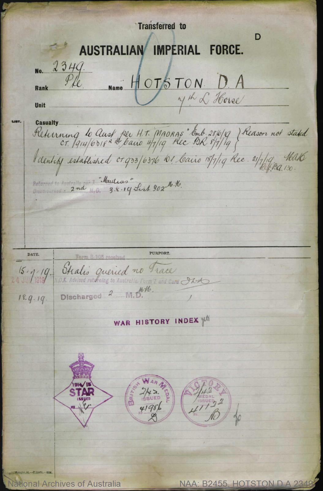 HOTSTON Dudley Attridge : Service Number - 2349 : Place of Birth - Coolah NSW : Place of Enlistment - Lithgow NSW : Next of Kin - (Mother) HOTSTON Frances