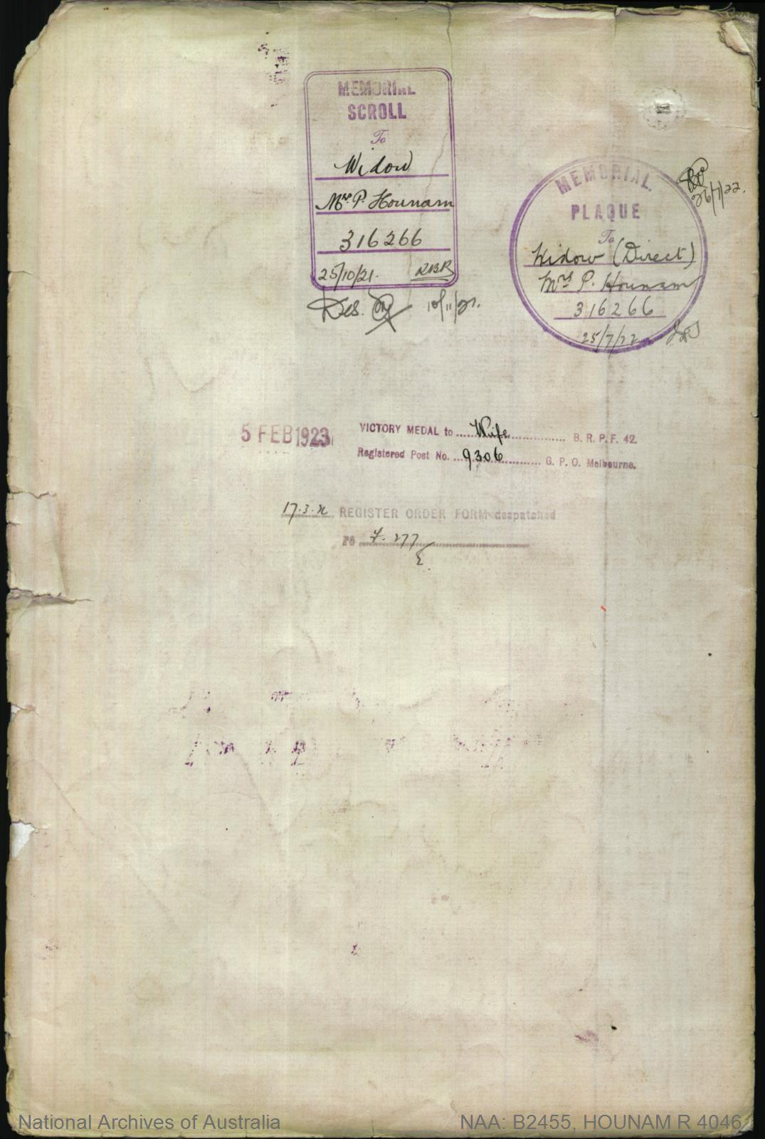HOUNAM Robert : Service Number - 4046 : Place of Birth - Rothbury England : Place of Enlistment - Claremont Tas : Next of Kin - (Wife) HOUNAM Phoebe