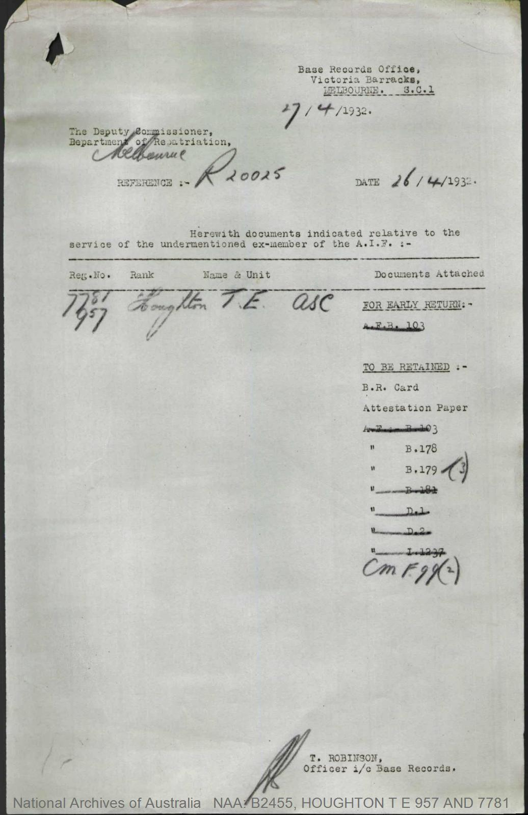 HOUGHTON Thomas Edward : Service Number - 957 and 7781 : Place of Birth - Ellesmere Port England : Place of Enlistment - Sydney NSW : Next of Kin - (Wife) HOUGHTON Clarice M