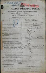 HOLMES Oliver : Service Number - 30 : Place of Birth - Malvern Vic : Place of Enlistment - Melbourne Vic : Next of Kin - (Father) HOLMES Louis W