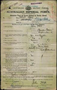 HOLT John : Service Number - Depot : Place of Birth - Charters Towers Qld : Place of Enlistment - Blackboy Hill WA : Next of Kin - (Wife) HOLT May