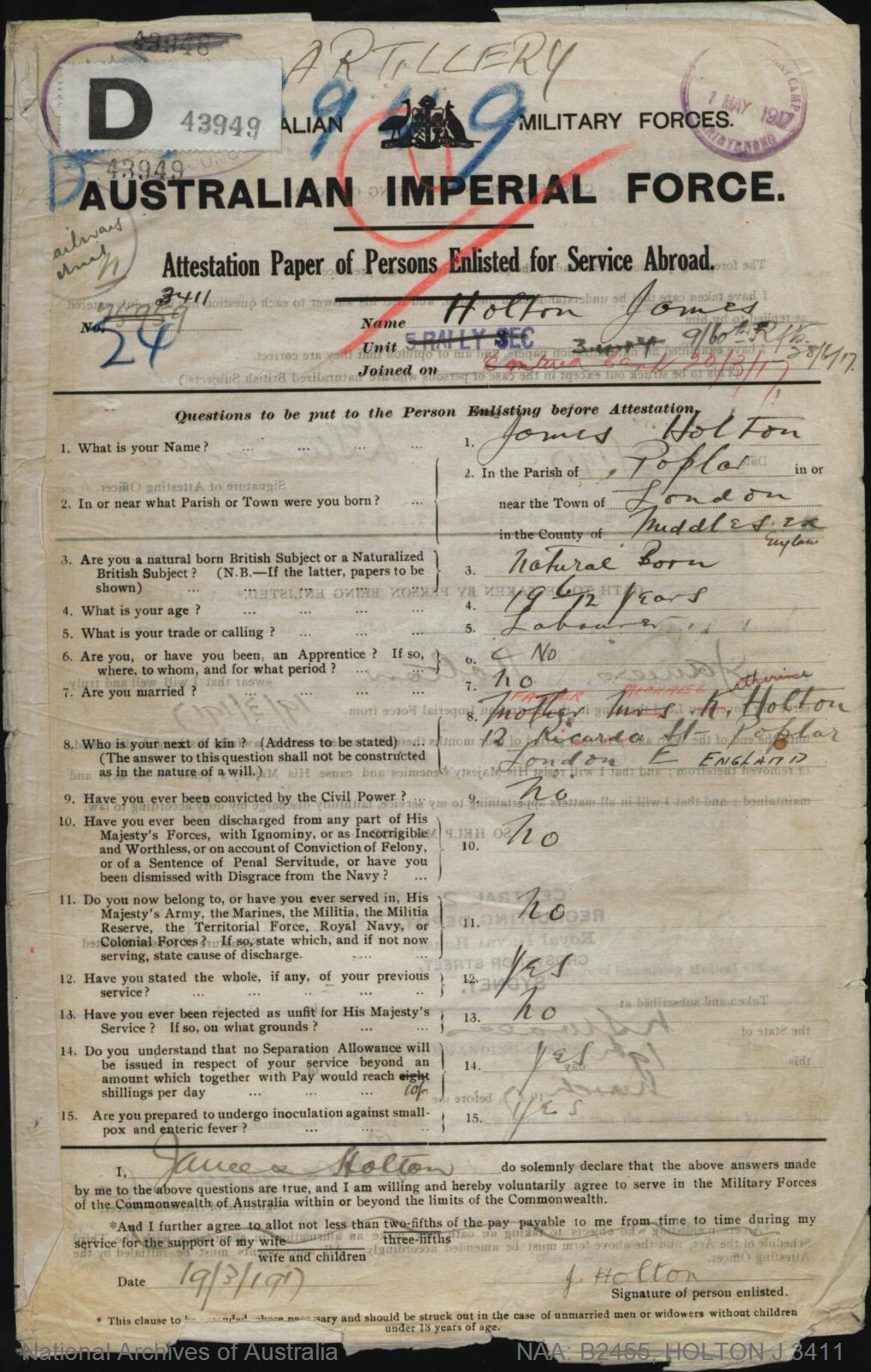 HOLTON James : Service Number - 3411 : Place of Birth - London England : Place of Enlistment - Sydney NSW : Next of Kin - (Father) HOLTON Michael