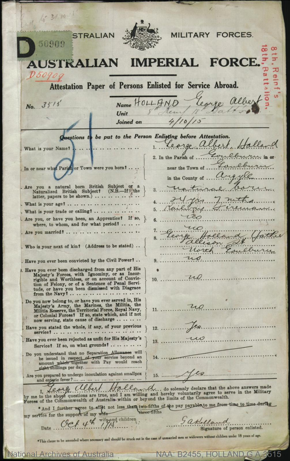 HOLLAND George Albert : Service Number - 3515 : Place of Birth - Goulburn NSW : Place of Enlistment - Goulburn NSW : Next of Kin - (Father) HOLLAND George
