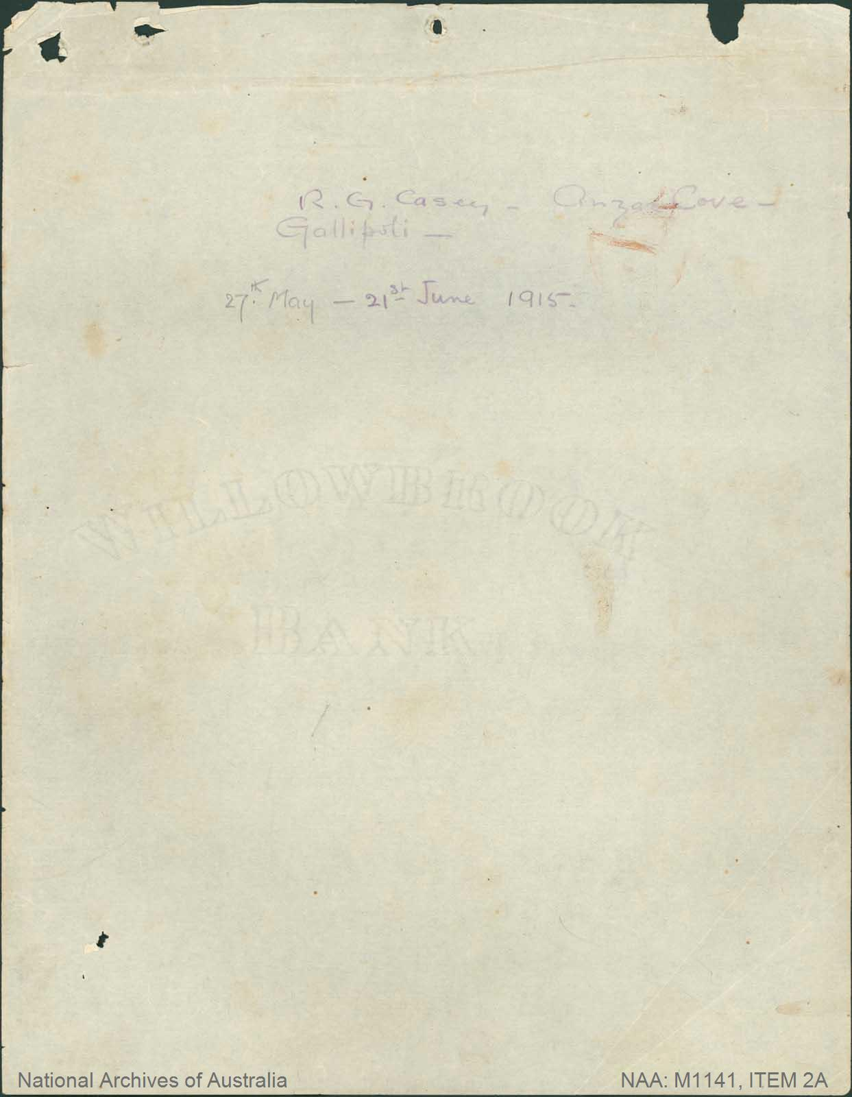 World War I - War Diaries [personal diary Gallipoli, 27 May 1915 - 6 September 1915, and associated material]