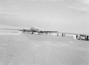 TITLE: VIP Dakotas at Port Lincoln aerodrome CATEGORY: photograph FORMAT: b&w negative STATUS: preservation material