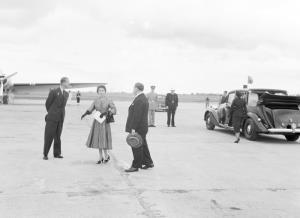 TITLE: Queen Elizabeth II and HRH at Port Lincoln aerodrome CATEGORY: photograph FORMAT: b&w negative STATUS: preservation material