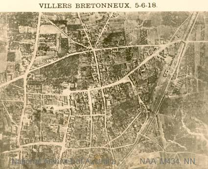 Aerial photographs of particular World War I battles and areas under bombardment. [Black and white  Print - sub item - Monument, Villers Bretonneux, 5-6-18]